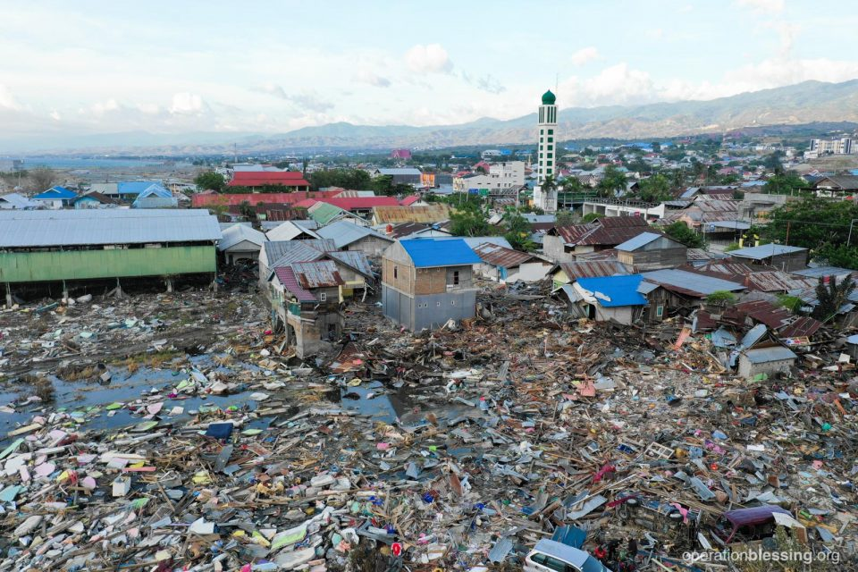 Destruction from the earthquake and tsunami in Palu, Indonesia.