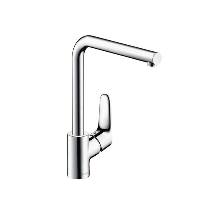 hansgrohe kitchen faucet focus chrome 3 stage swiveling l spout