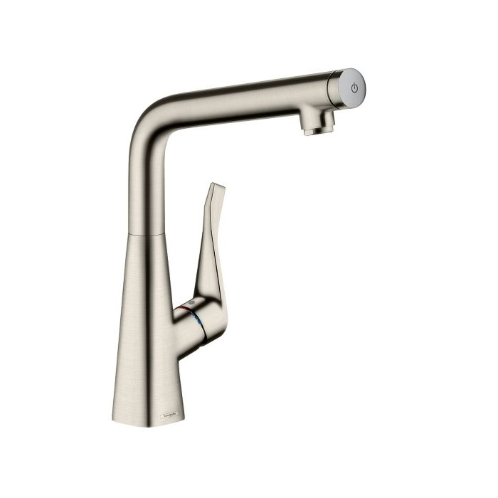 hansgrohe metris select 320 kitchen faucet 14883800 stainless steel look swivel spout
