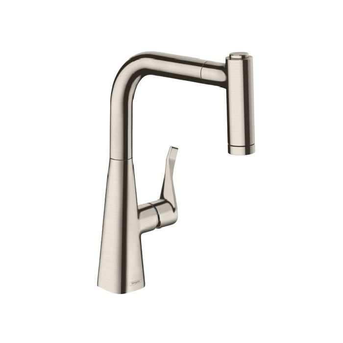 hansgrohe metris 220 kitchen faucet 14834800 stainless steel look swivel spout