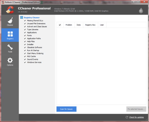 CCleaner registry optimizer
