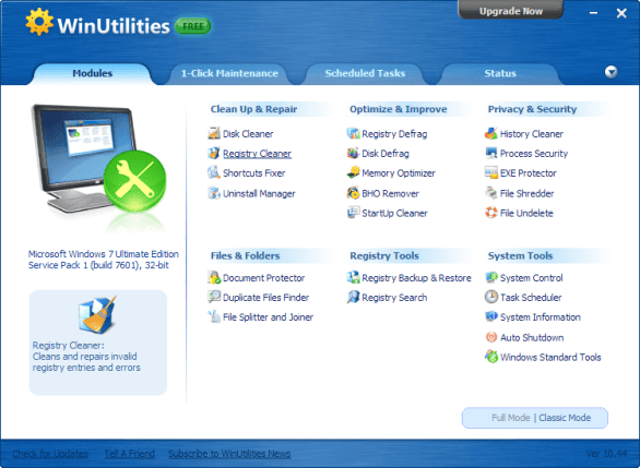 WinUtilities Free PC Optimization Tool