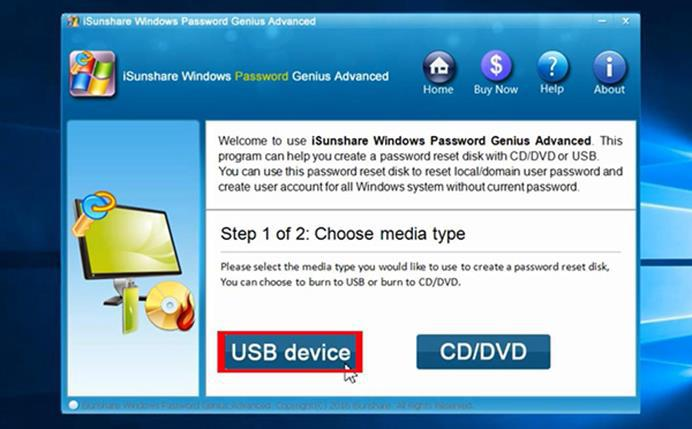 recover forgotten windows password with iSunshare Windows Password Genius
