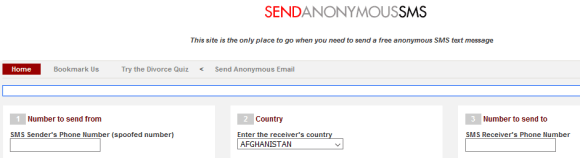 Send Anonymous SMS