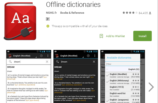 offline dictionaries for android app