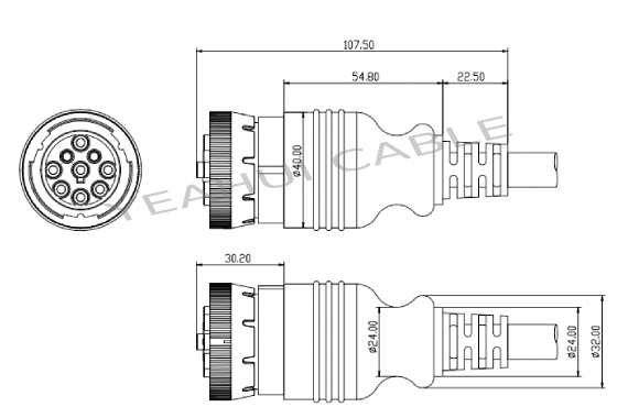 YH6006 9pin SAE J1939 Truck Diagnostic Connector