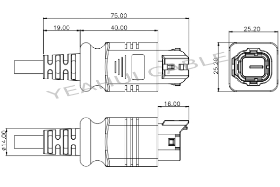 YHSUM6189-4171 4pin Male Terminals Marine Connector For
