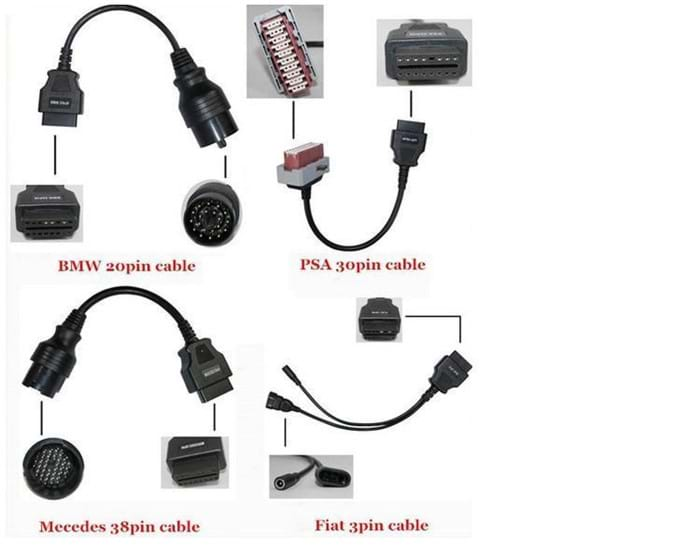 Car Adaptor Cables 8 cables for tcs cdp+ pro ds150e