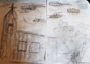 Oberschule Briesen_Kunstunterricht in Zeiten von Corona_Melina_Frottage_Kunstwerk Dorfkirche bei Nacht