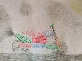 Oberschule Briesen_Kunstunterricht in Zeiten von Corona_Rico_Frottage_Kunstwerk Das Motorrad