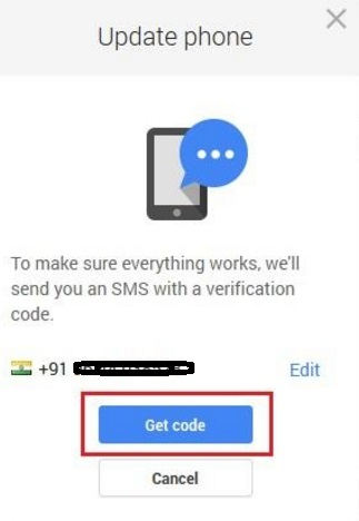 gmail mobile number change