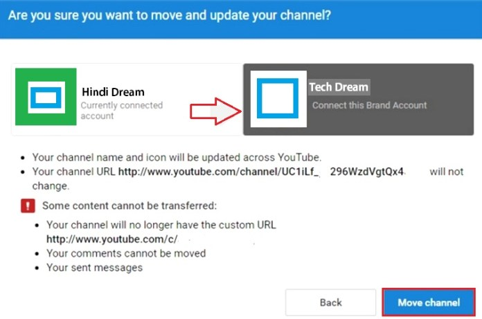 How to move youtube channel to other youtube channel hindi dream tech