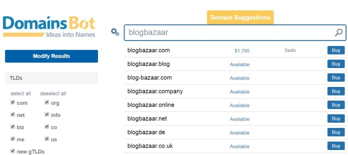 free online domain suggestion tool