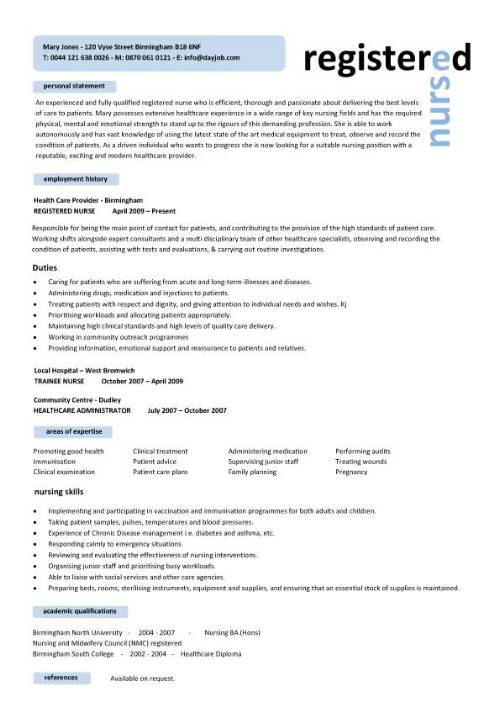 resume format in word for nurse