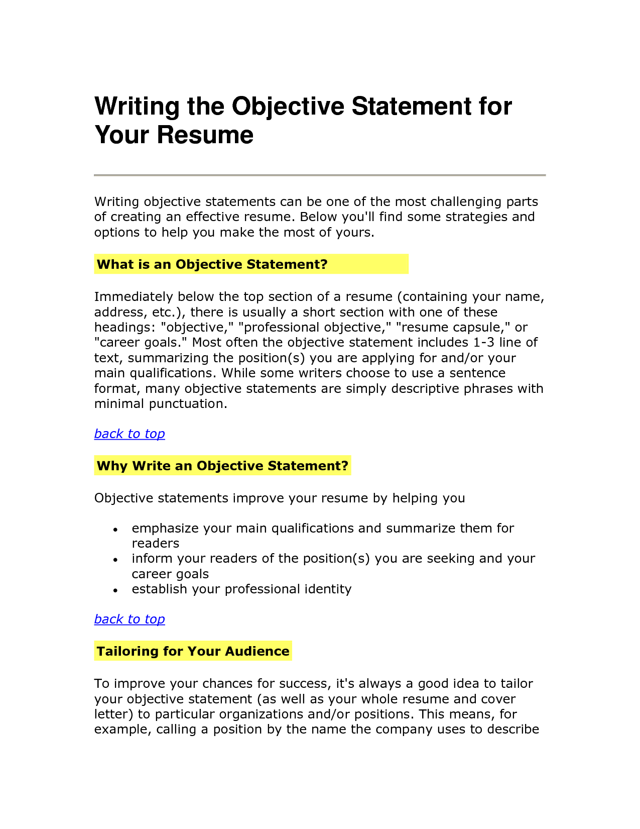 resumes objective statements
