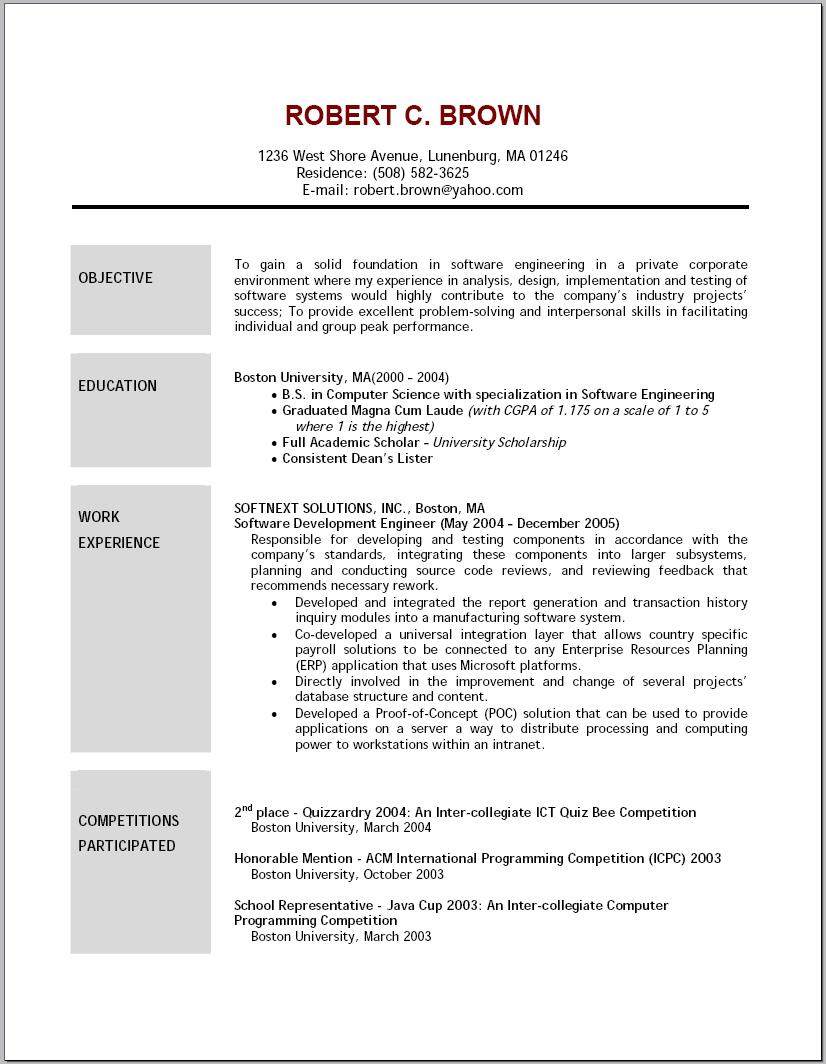 general resume objective statement examples