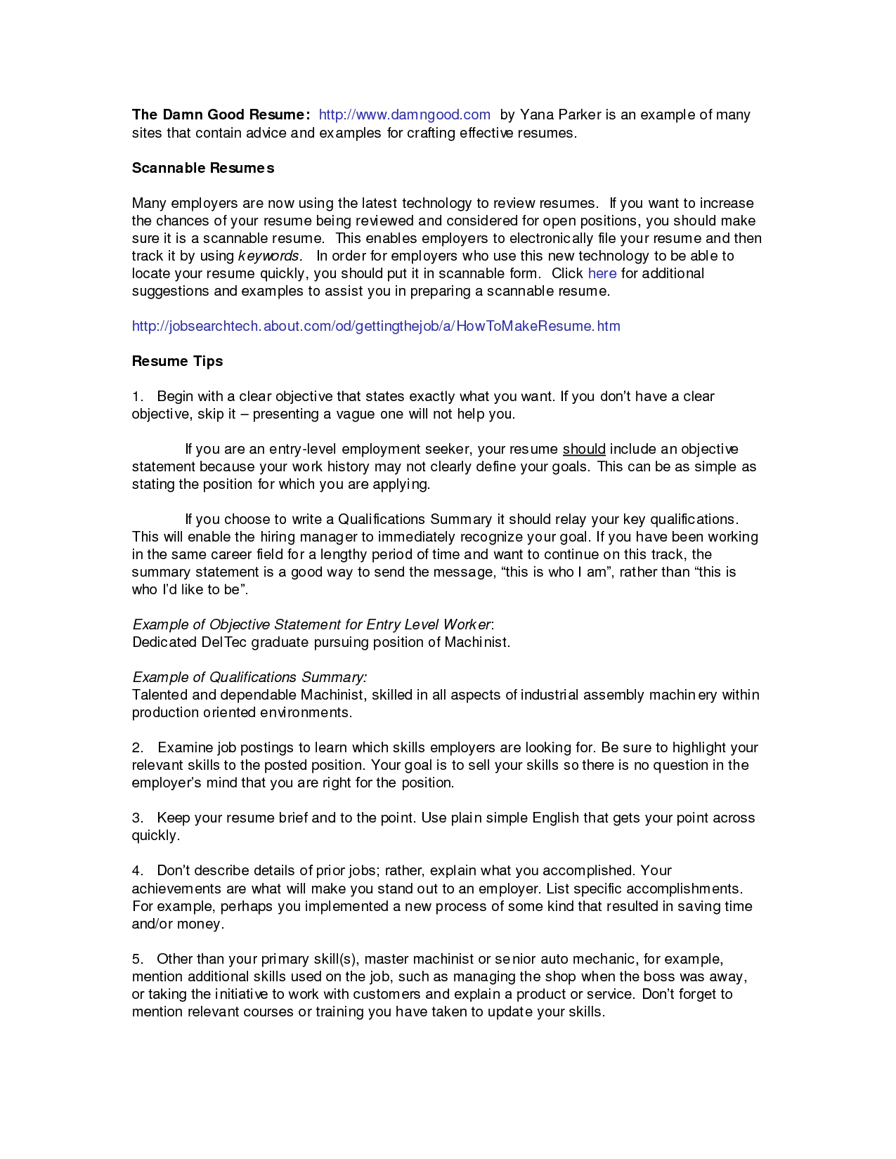 Resume Job Summary Examples