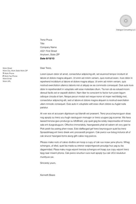 business letter writing template