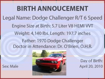 Dodge Challenger Birth Announ
