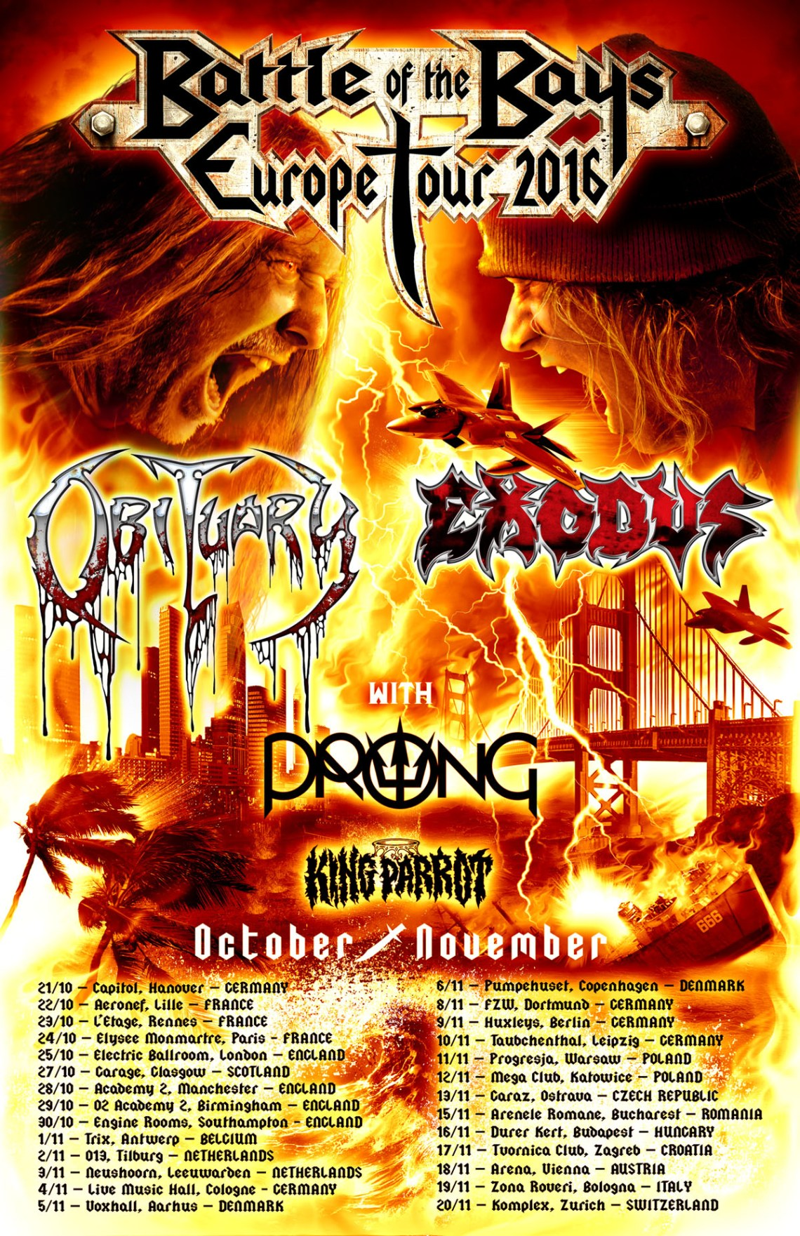 Obituary Exodus European Battle Of The Bays Tour 2016