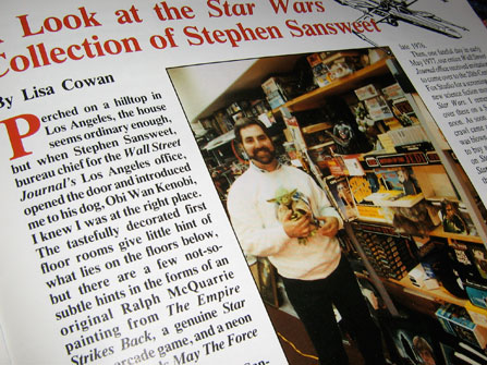 Lucasfilm Fan Club Magazine article about Steven Stanweet's incredible collection of Star Wars merchandise, 1991.