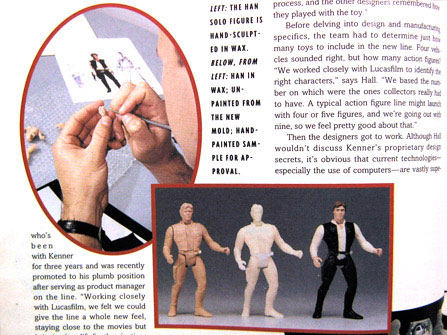 Having spent the last ten years in a gym, Han Solo cockily struts his stuff upon his return to action figure blisters in 1995.
