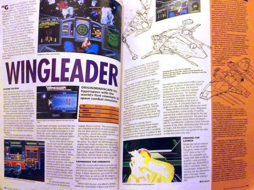 """ACE - Advanced Computer Entertainment summer 1990 issue previewing Origin System's Wing Leader, the future Wing Commander. ACE extensively previews Chris Roberts's upcoming space epic """"Wing Leader"""" in August 1990. It is hailed by both the developer and ACE as the future of computer and video gaming. Click to see the spread in full size."""