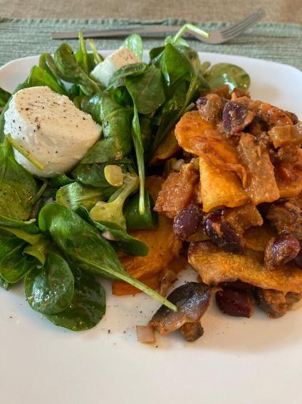 gratin patates douces légumineuses
