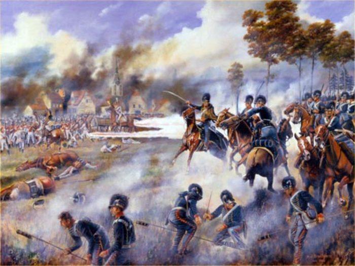 «Ракетная бригада Королевской конной артиллерии в битве под Лейпцигом». Картина художника Дэвида Роуландса, 2010-е годы