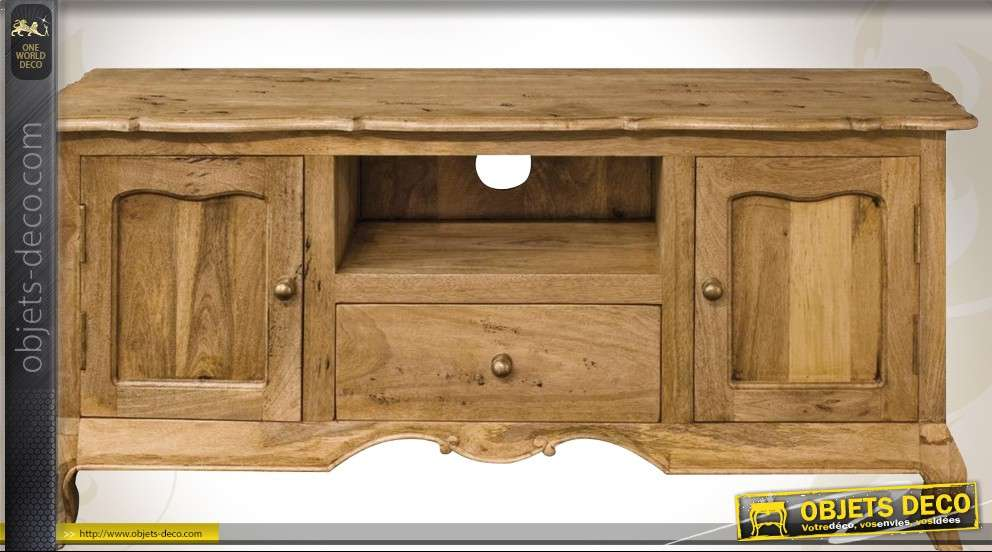 meuble tv style louis xv bois massif facon bois recycle