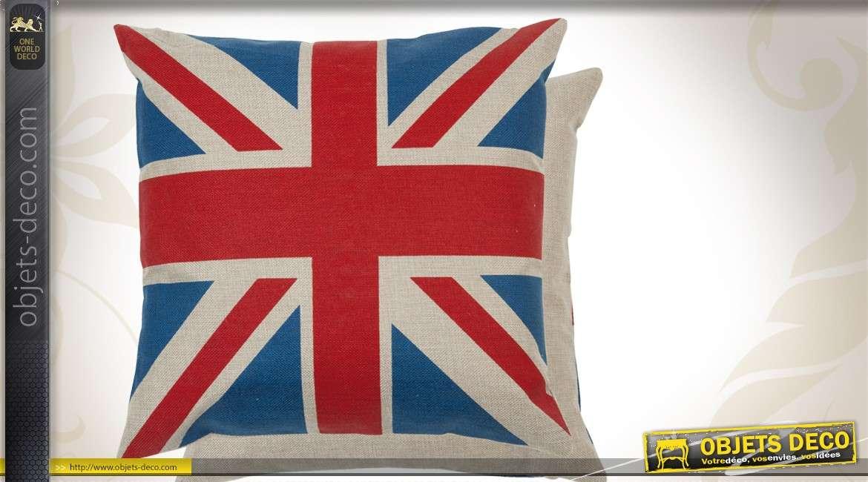 housse de coussin en coton 45 x 45 drapeau anglais