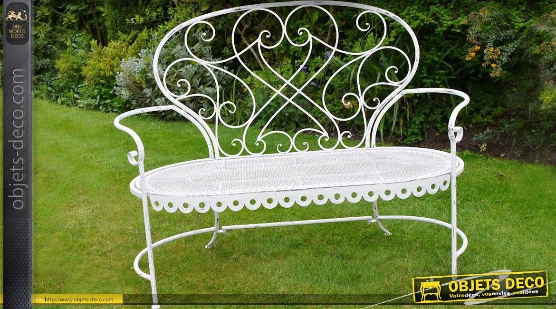 banc de jardin fer forge et metal style romantique coloris blanc
