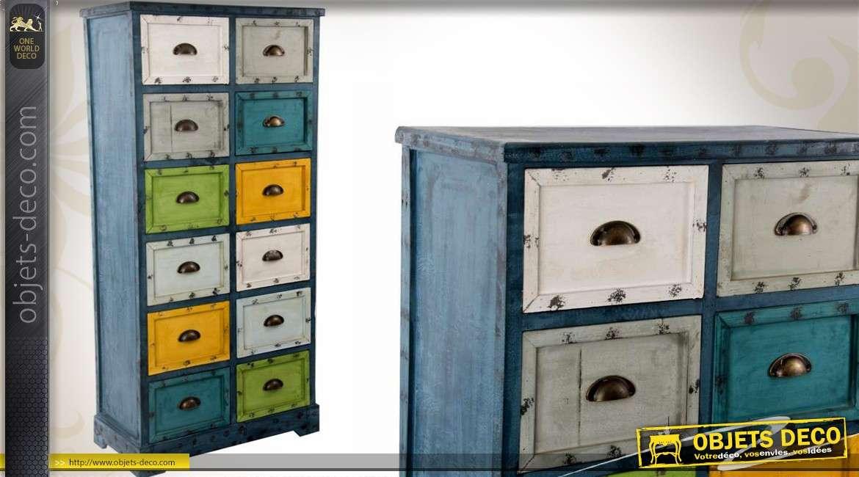 meuble de rangement en bois a 12 tiroirs de style industriel