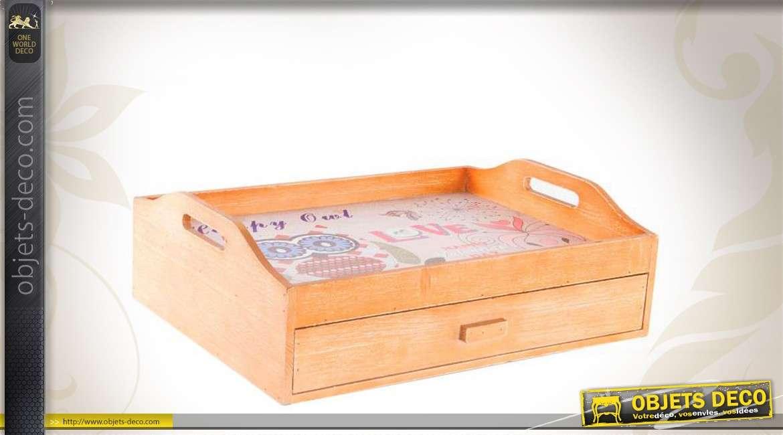 plateau repas en bois avec tiroir de rangement