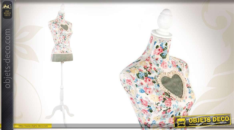 Mannequin de couture floral en bois et en tissu