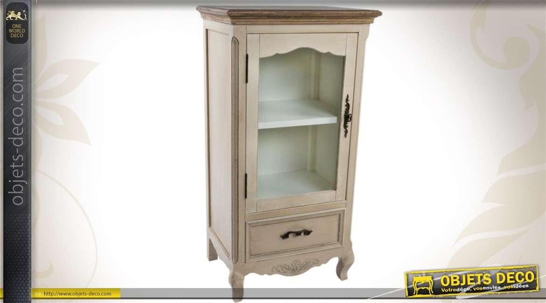 petit meuble vitrine de style campagne chic patine creme antique