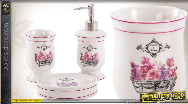 Set de 3 accessoires pour salle de bain orns de motifs floraux