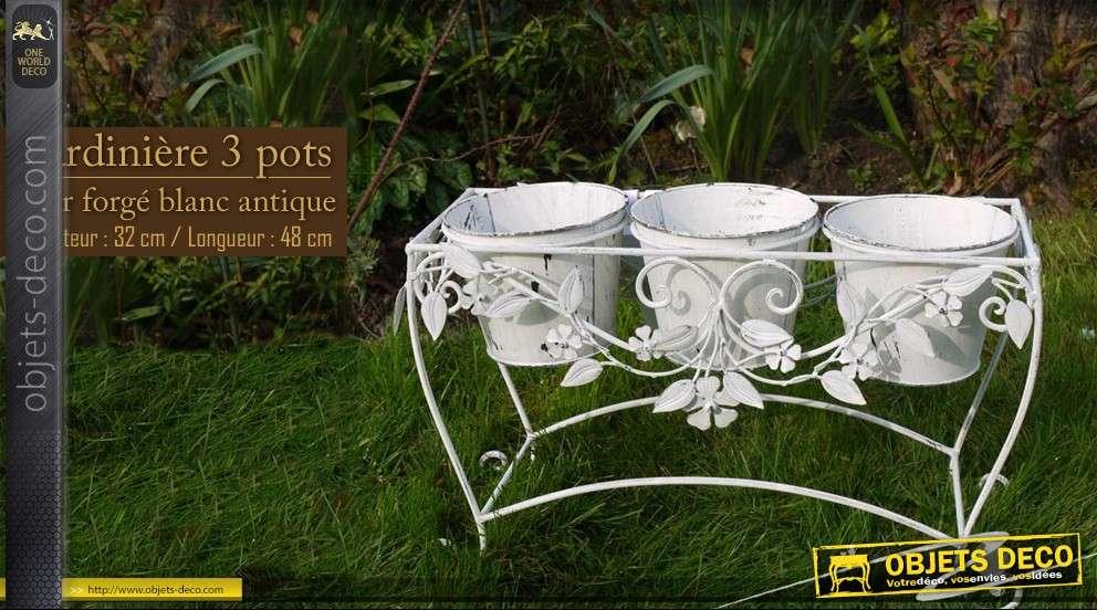 jardiniere 3 pots en fer forge sur support