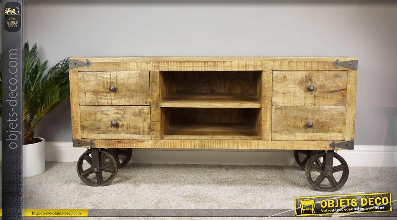 meuble tv style wagonnet industriel en bois massif et metal 120 cm
