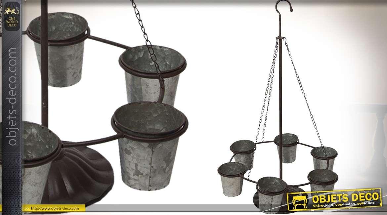 jardiniere suspendue a six pots finition zinc ancien 90 cm