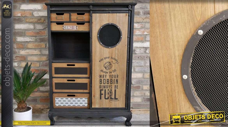 meuble d appoint de style industriel avec pietement en pattes de lion bois de sapin finition noir mat