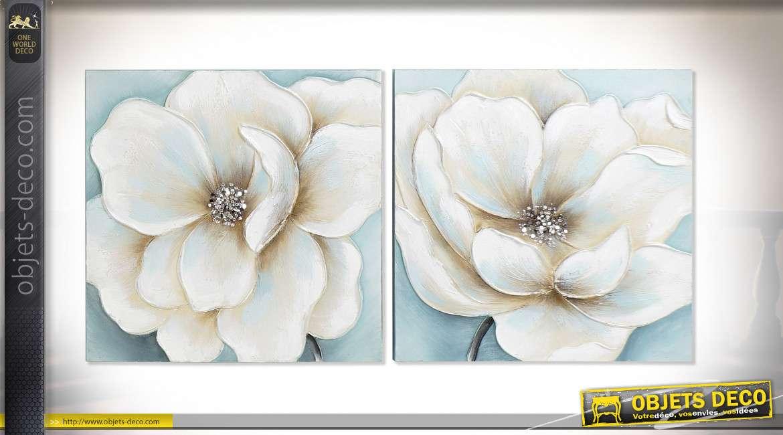 serie de deux peintures sur toile representant 2 grosses fleurs modernes finitions claires bleutees peint a la main 50cm
