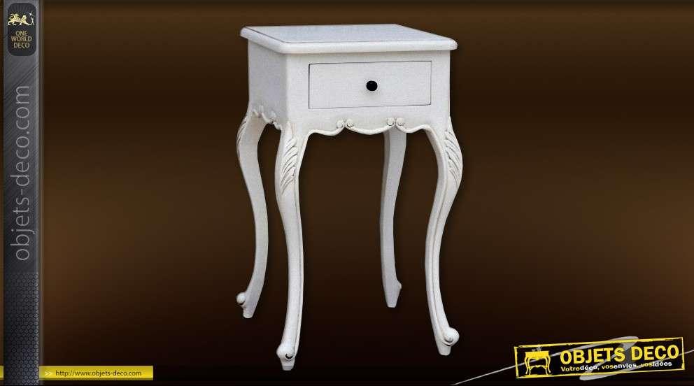 table de nuit style louis xv blanc antique