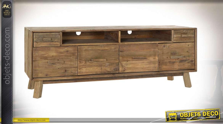 meuble tv pin 180x48x65 vieilli naturel