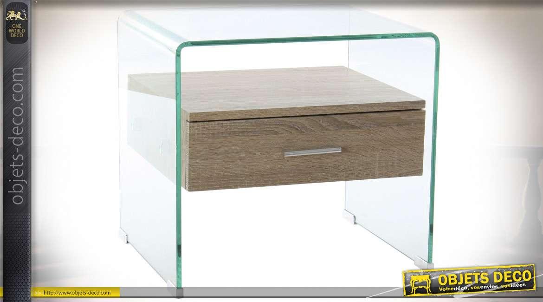 table de chevet verre mdf 50x40x45 5 10mm