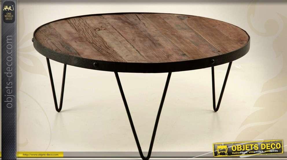 grande table basse ronde en fer forge et bois massif o 90 cm