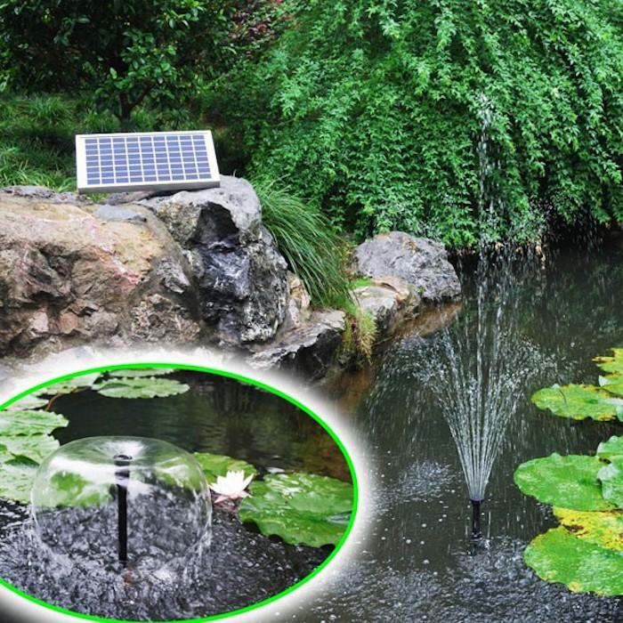 pompe fontaine solaire de bassin batterie led 10wc 600 l h ag bl programmable