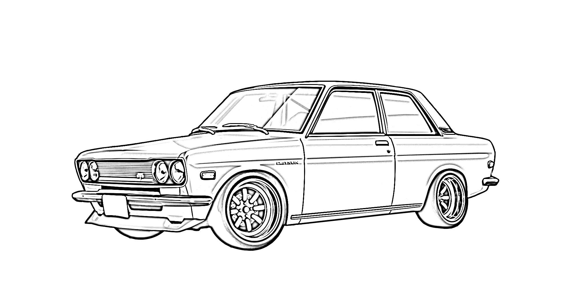 Datsun 510 Drawing Sketch Coloring Page