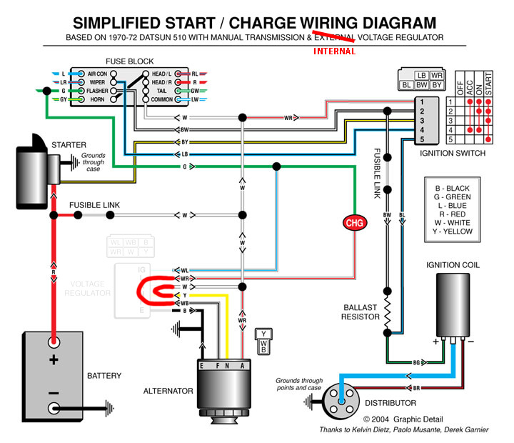 datsun 620 wiring diagram virus worksheet how to wire a gm 10dn alternator and 3 terminal external voltage regulator.html | autos weblog