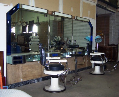 1920S Art Deco Barber Shop Back Bar And Chairs